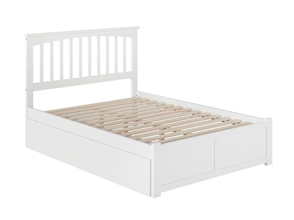 Atlantic Furniture Mission White Full Bed with Flat Panel Foot Board and 2 Urban Drawers AR8732112