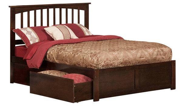 Atlantic Furniture Mission Walnut Flat Panel Footboard and Two Urban Drawers Full Bed AR8732114