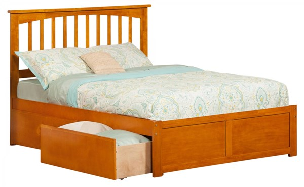Mission Caramel Latte Flat Panel Footboard & Urban Drawers Full Bed AR8732117
