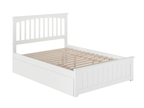 Atlantic Furniture Mission White Full Bed with Matching Foot Board and Twin Urban Trundle AR8736012