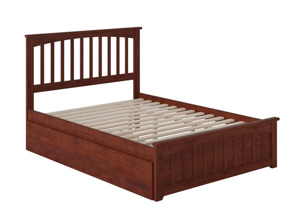 Atlantic Furniture Mission Walnut Full Bed with Matching Foot Board and Twin Urban Trundle AR8736014