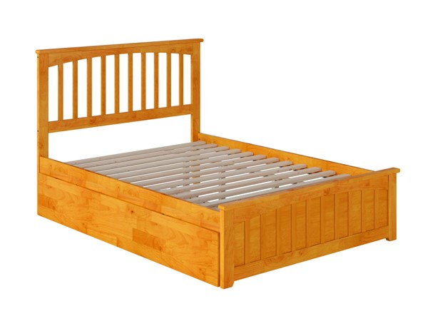 Atlantic Furniture Mission Caramel Full Bed with Matching Foot Board and Twin Urban Trundle AR8736017