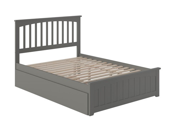 Atlantic Furniture Mission Grey Full Bed with Matching Foot Board and Twin Urban Trundle AR8736019