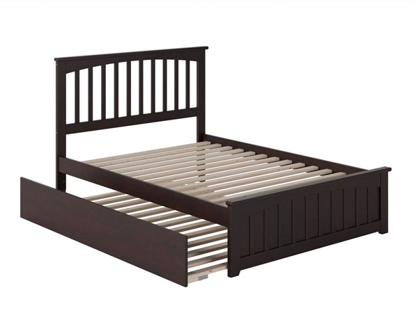 Atlantic Furniture Mission Espresso Full Bed with Matching Foot Board and Full Urban Trundle AR8736051