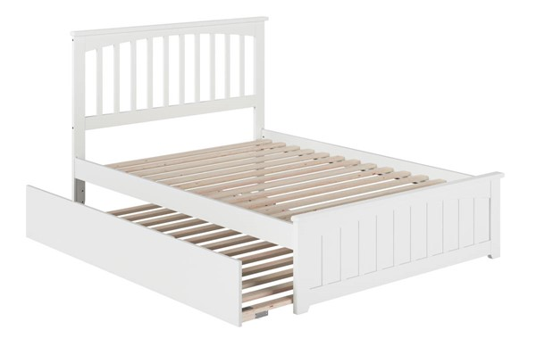 Atlantic Furniture Mission White Full Platform Urban Trundle Bed with Matching Footboard AR8736052