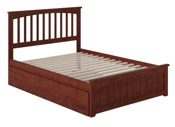 Atlantic Furniture Mission Walnut Full Bed with Matching Foot Board and Full Urban Trundle AR8736054