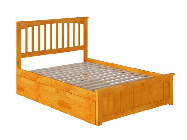 Atlantic Furniture Mission Caramel Full Bed with Matching Foot Board and Full Urban Trundle AR8736057