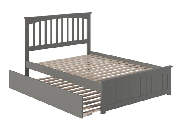 Atlantic Furniture Mission Grey Full Platform Urban Trundle Bed with Matching Footboard AR8736059