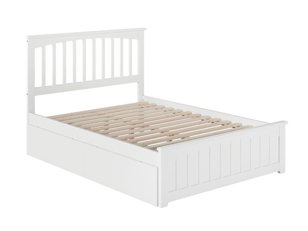 Atlantic Furniture Mission White 2 Urban Drawers Full Bed with Matching Foot Board AR8736112