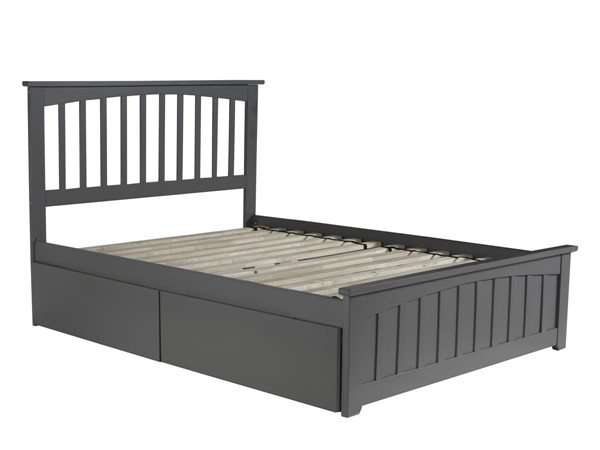 Atlantic Furniture Mission Grey 2 Urban Drawers Full Bed with Matching Foot Board AR8736119