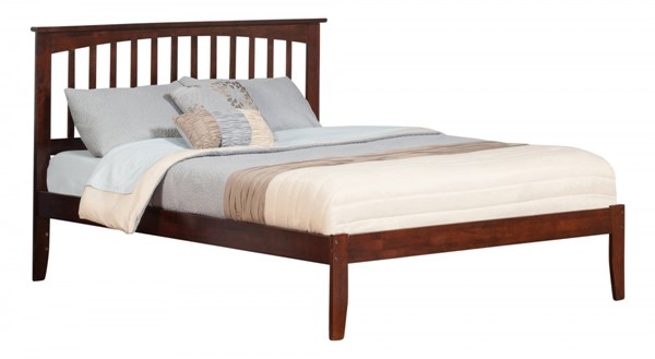 Mission Traditional Walnut Wood Queen Open Foot Rail Platform Bed AR8741034