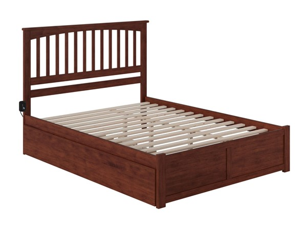 Atlantic Furniture Mission Walnut Queen Bed with Twin XL Trundle AR8742044