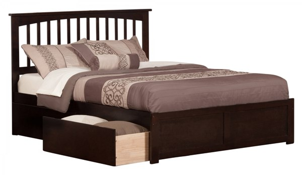 Mission Espresso Wood Flat Panel Footboard & Urban Drawers Beds AR8742111-VAR