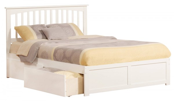 Mission White Wood Flat Panel Footboard & Urban Drawers Queen Bed AR8742112