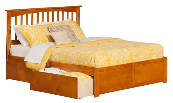 Mission Caramel Latte Flat Panel Footboard & Urban Drawers Queen Bed AR8742117