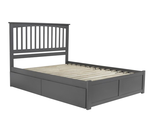Atlantic Furniture Mission Grey Queen Bed with Flat Panel Foot Board and 2 Urban Drawers AR8742119