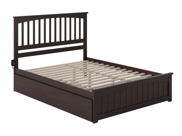 Atlantic Furniture Mission Queen Bed with Matching Footboard and Twin XL Trundle AR8746041-BED-VAR2