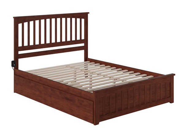Atlantic Furniture Mission Walnut Queen Bed with Matching Footboard and Twin XL Trundle AR8746044
