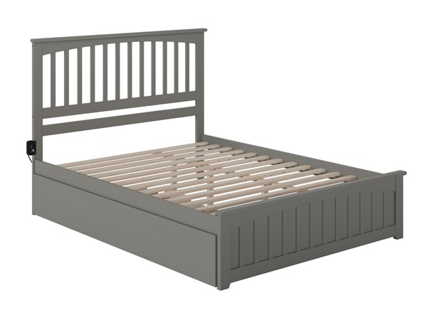Atlantic Furniture Mission Grey Queen Bed with Matching Footboard and Twin XL Trundle AR8746049