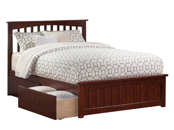 Atlantic Furniture Mission Walnut 2 Urban Drawers Queen Bed with Matching Foot Board AR8746114
