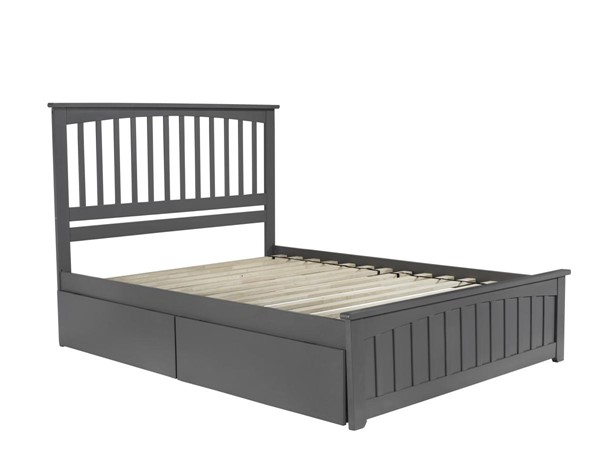 Atlantic Furniture Mission Grey 2 Urban Drawers Queen Bed with Matching Foot Board AR8746119