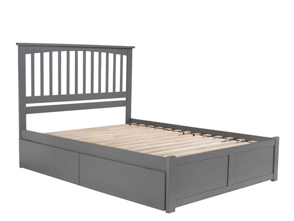 Atlantic Furniture Mission Grey King Bed with Flat Panel Foot Board and 2 Urban Drawers AR8752119