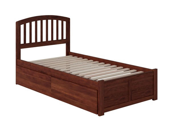 Atlantic Furniture Richmond Walnut Flat Panel Footboard and Two Urban Drawers Twin XL Bed AR8812114
