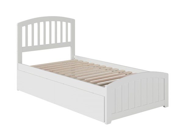Atlantic Furniture Richmond White 2 Urban Drawers Twin XL Platform Bed with Matching Foot Board AR8816112