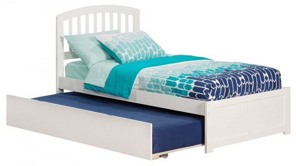 Atlantic Furniture Richmond White Flat Panel Footboard and Urban Trundle Twin Bed AR8822012