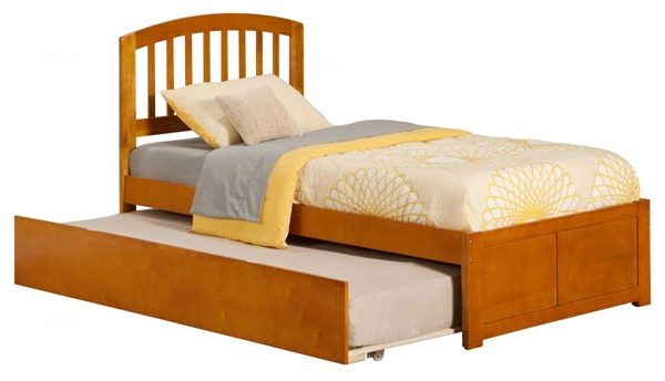 Richmond Caramel Latte Flat Panel Footboard & Urban Trundle Twin Bed AR8822017
