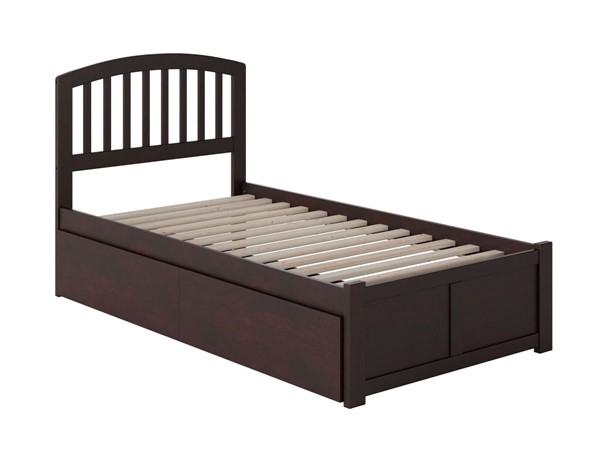Atlantic Furniture Richmond Espresso Flat Panel Footboard and Two Urban Drawers Twin Bed AR8822111