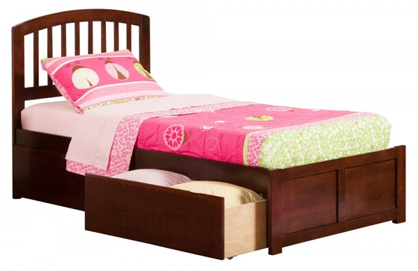 Atlantic Furniture Richmond Walnut Flat Panel Footboard and Two Urban Drawers Twin Bed AR8822114