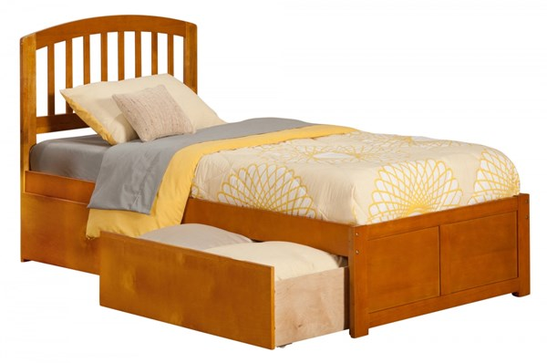 Atlantic Furniture Richmond Caramel Latte Flat Panel Footboard and Two Urban Drawers Twin Bed AR8822117