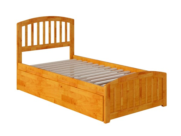 Atlantic Furniture Richmond Caramel Twin Platform Urban Trundle Bed with Matching Foot Board AR8826017