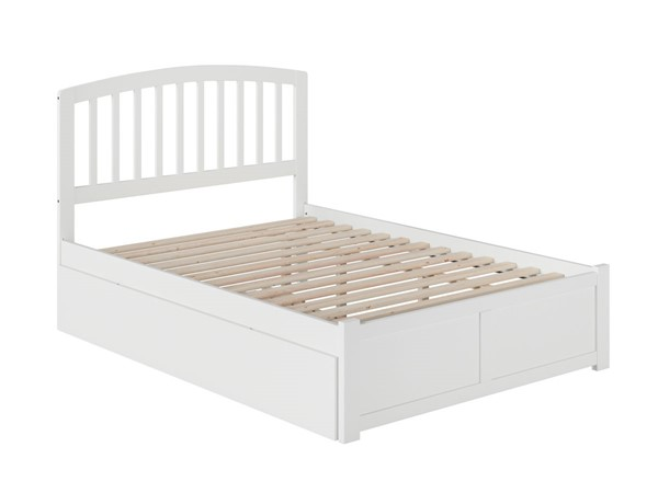 Atlantic Furniture Richmond White Full Platform Bed with Flat Panel Foot Board and Twin Urban Trundle AR8832012