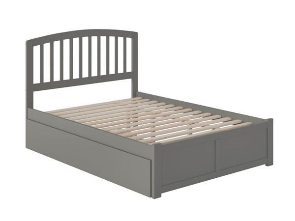 Atlantic Furniture Richmond Grey Full Platform Bed with Flat Panel Foot Board and Twin Urban Trundle AR8832019