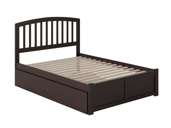 Atlantic Furniture Richmond Espresso Full Platform Urban Trundle Bed with Flat Panel Footboard AR8832051