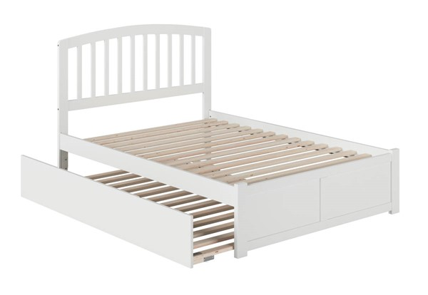 Atlantic Furniture Richmond White Full Platform Urban Trundle Bed with Flat Panel Footboard AR8832052