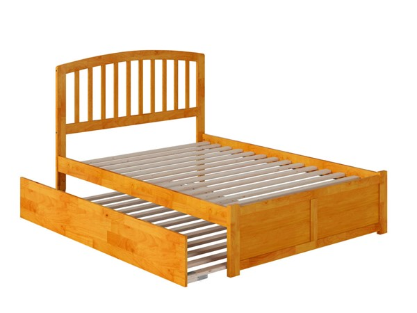 Atlantic Furniture Richmond Caramel Full Platform Urban Trundle Bed with Flat Panel Footboard AR8832057