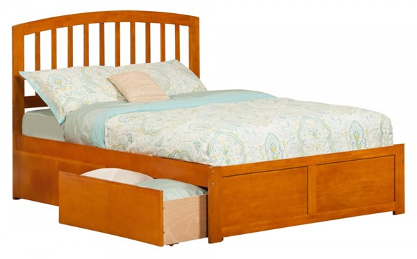 Atlantic Furniture Richmond Caramel Latte Flat Panel Footboard and Two Urban Drawers Full Bed AR8832117