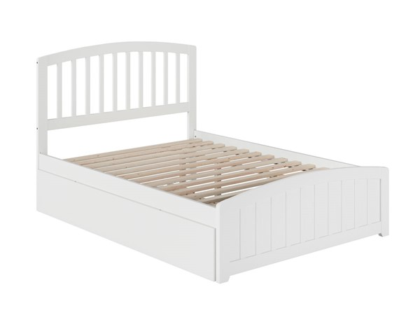 Atlantic Furniture Richmond White Full Platform Bed with Matching Foot Board and Twin Urban Trundle AR8836012