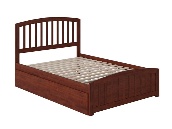 Atlantic Furniture Richmond Walnut Full Platform Bed with Matching Foot Board and Twin Urban Trundle AR8836014