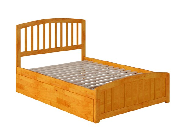 Atlantic Furniture Richmond Caramel Full Platform Bed with Matching Foot Board and Twin Urban Trundle AR8836017