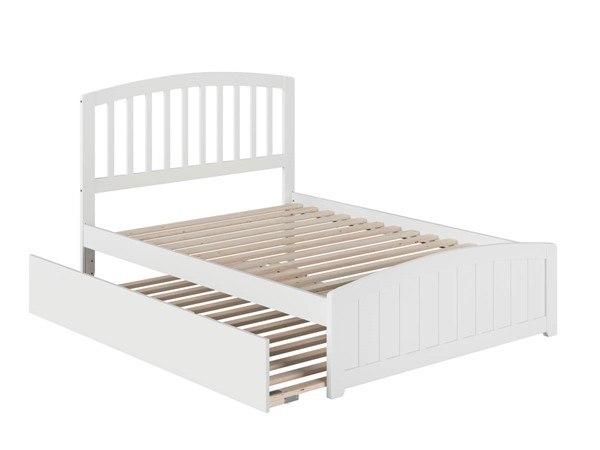 Atlantic Furniture Richmond White Full Platform Urban Trundle Bed with Matching Footboard AR8836052