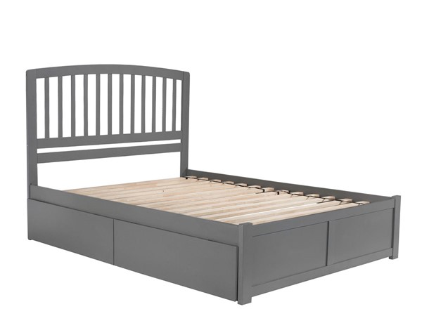 Atlantic Furniture Richmond Grey Flat Panel Footboard And Two Urban Drawers Queen Bed AR8842119