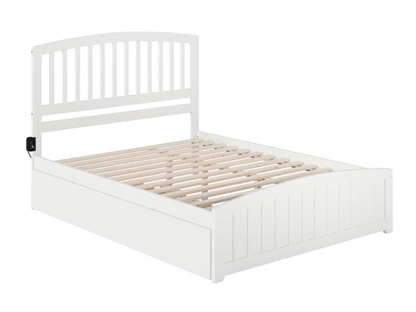 Atlantic Furniture Richmond White Queen Bed with Matching Footboard and Twin XL Trundle AR8846042