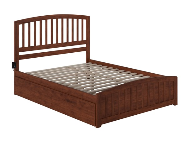 Atlantic Furniture Richmond Walnut Queen Bed with Matching Footboard and Twin XL Trundle AR8846044