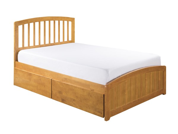 Atlantic Furniture Richmond Caramel 2 Urban Drawers Queen Platform Bed with Matching Foot Board AR8846117