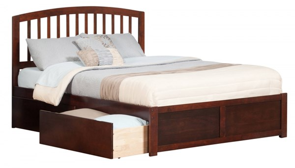 Richmond Walnut Wood Flat Panel Footboard & Urban Drawers King Bed AR8852114