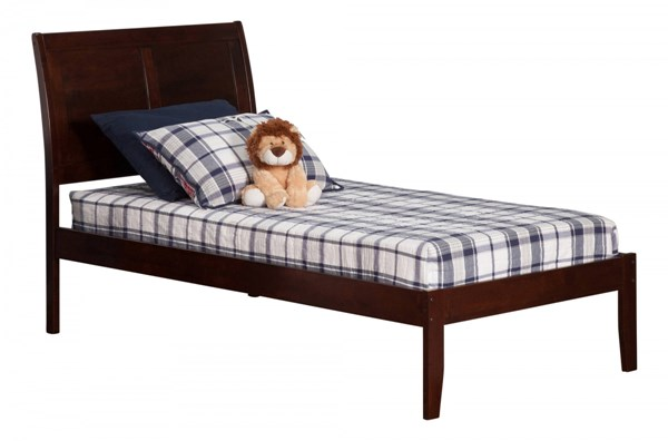 Portland Walnut Wood Twin Extra Long Platform Open Foot Bed AR8911004